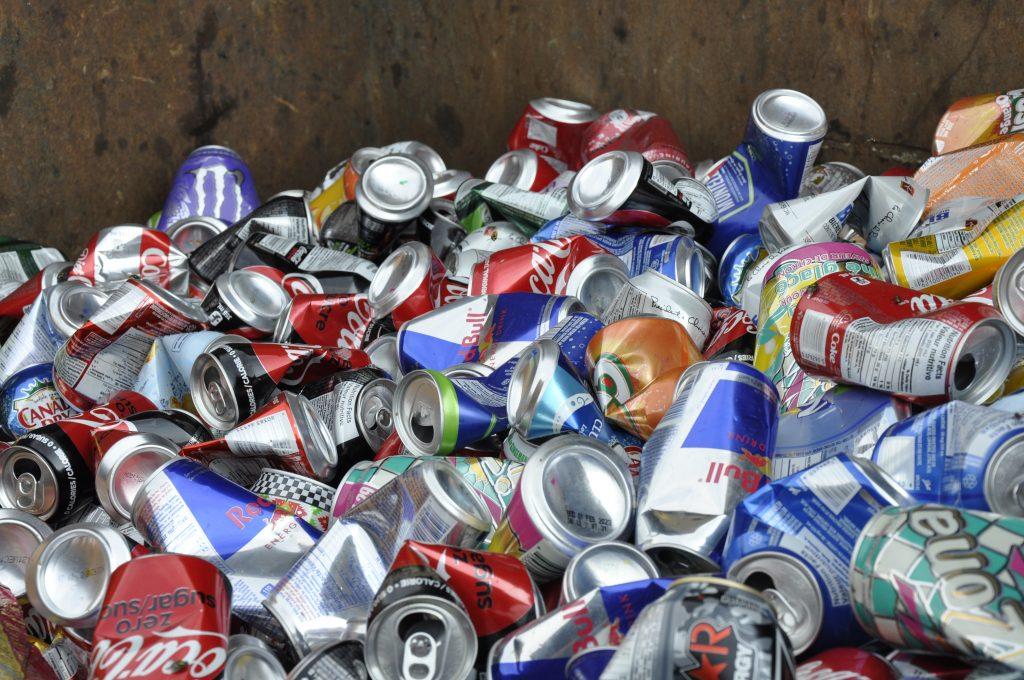 Aluminum cans scrap metal recycling.