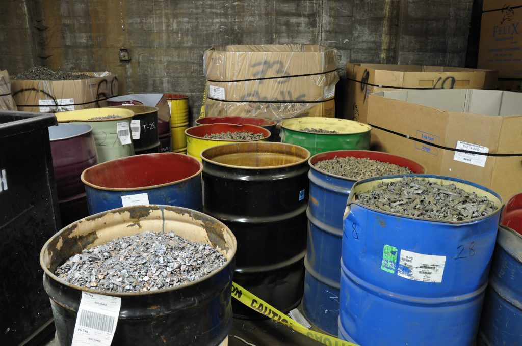 Commercial drums of copper aluminum and other metals.
