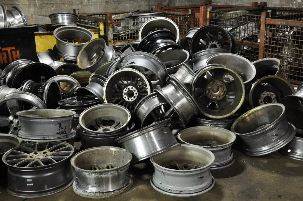 Steel aluminum car rims recycled at Wentworth Metal Recycling.